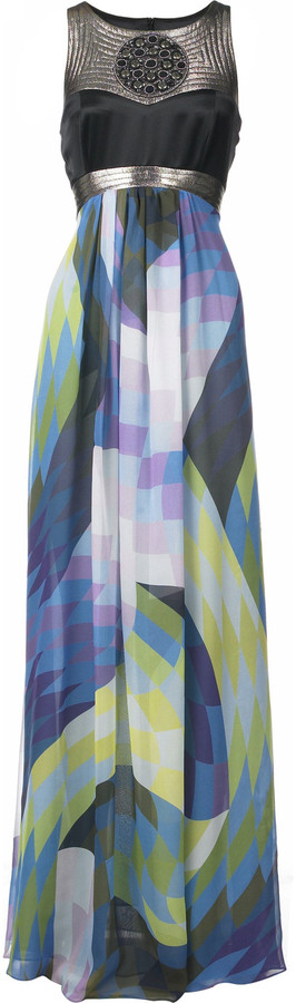Matthew Williamson Harlequin print maxi dress