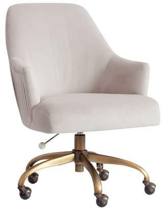 Pottery Barn Teen Pleated Desk Chair, Velvet Gray w/ Antique Brass Base