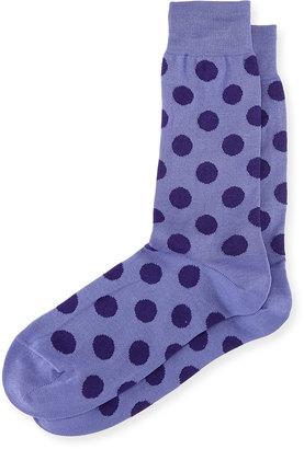 Bugatchi Dot-Print Cotton-Blend Socks, Orchid $16 thestylecure.com