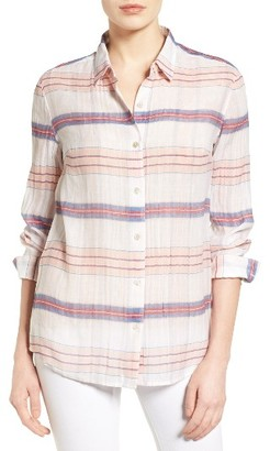 Women's Tommy Bahama Costas Stripe Cotton & Silk Shirt $148 thestylecure.com