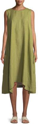 eskandar Pleated Sleeveless Linen Dress with Pockets