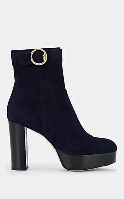 Gianvito Rossi Women's Suede Platform Ankle Boots - Navy
