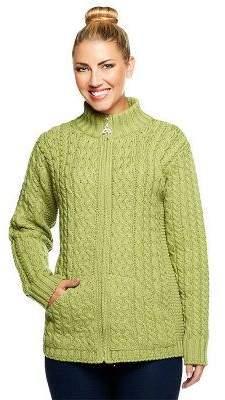 Aran Craft Merino Wool Zip Front Stand Collar Cardigan