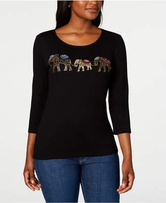 Karen Scott Cotton Elephant Embroidered Top