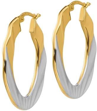 14K Gold Two-Tone Flat Oval Hoop Earrings