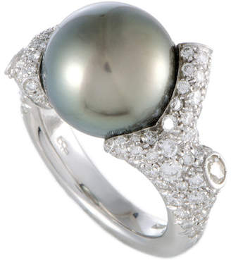 Mikimoto 18K 1.80 Ct. Tw. Diamond & 12Mm Pearl Ring