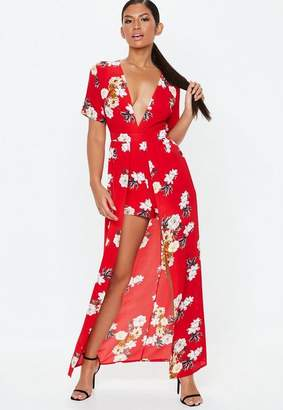 Missguided Red Crepe Maxi Overlay Floral Romper