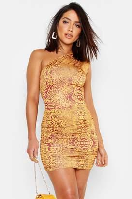 boohoo Animal Print One Shoulder Bodycon Dress