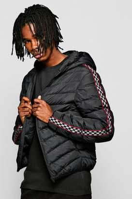 boohoo Checkerboard Tape Hooded Puffer Jacket