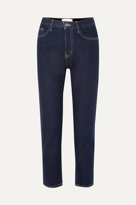 Current/Elliott The Vintage Crop High-rise Slim-leg Jeans - Dark denim