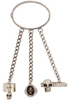 Alexander McQueenAlexander McQueen Skull ring chain bracelet