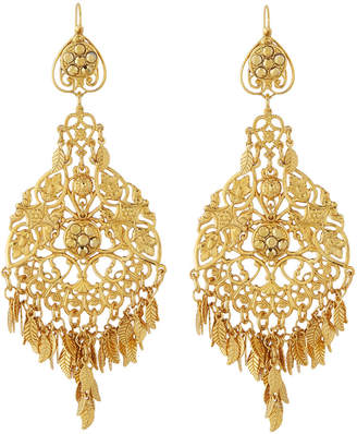 Jose & Maria Barrera Agate & Crystal Filigree Chandelier Earrings, Blue