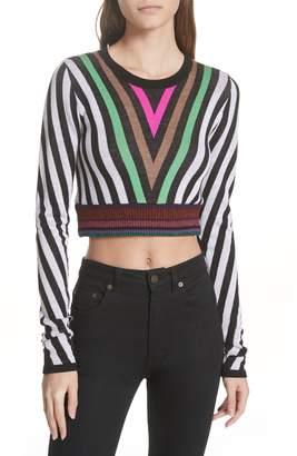 Diane von Furstenberg Chevron Crewneck Crop Sweater