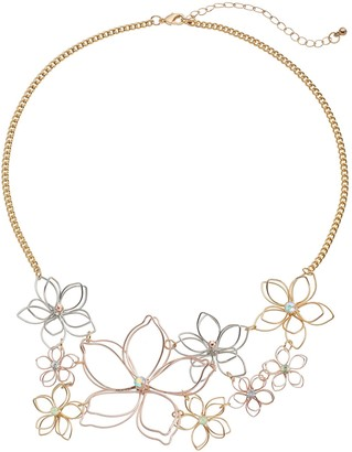 Mudd Tri Tone Wire Flower Statement Necklace