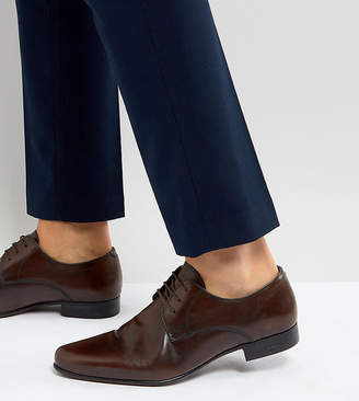 Asos Design Wide Fit Derby Shoes in Brown Leather