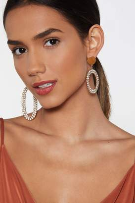 Nasty Gal Oval You Diamante Earrings