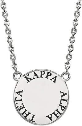 FINE JEWELRY Kappa Alpha Theta Enamel Sterling Silver Disc Pendant Necklace