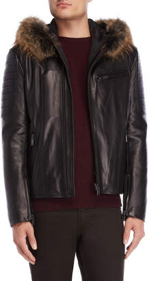Intuition Leather Real Fur Trim Hooded Jacket