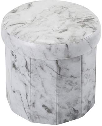 Simplify Round Marble Finish Collapsible Storage Ottoman