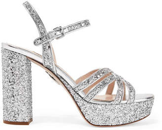 Miu Miu Glittered Leather Platform Sandals - Silver