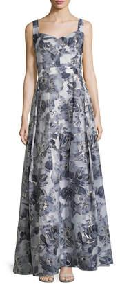 St. John Metallic Floral Gown