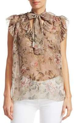 Zimmermann Fleeting Silk Floral Flounce Blouse