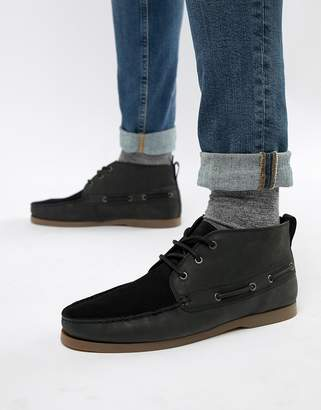 Asos DESIGN chukka boat shoes in black suede