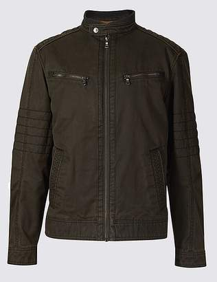 Marks and Spencer Washed Cotton Blend Biker Jacket