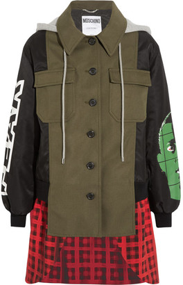 Moschino - Hooded Printed Shell, Checked Wool-blend And Cotton-blend Canvas Jacket - Green $2,250 thestylecure.com