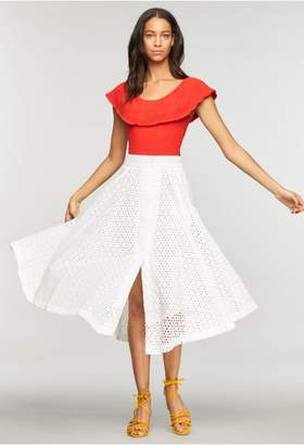 Milly Floral Cotton Eyelet Fiona Skirt