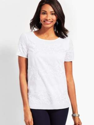 Talbots Embroidered Floral Short-Sleeve Top