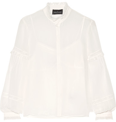 Needle & Thread - Lace-trimmed Silk-chiffon Blouse - Ivory