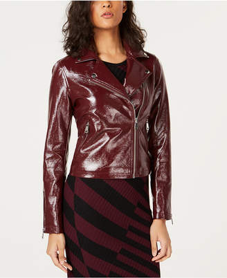 Bar III Patent Faux-Leather Moto Jacket, Created for Macy's