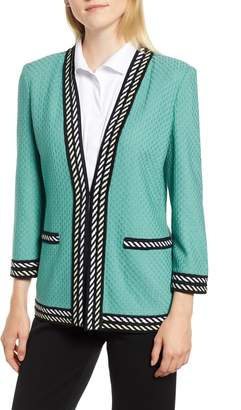 Ming Wang Stripe Trim Jacquard Knit Jacket