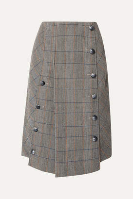 Chloé Button-embellished Checked Wool-blend Midi Skirt - Gray
