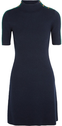 Tory Burch - Sardy Ribbed Merino Wool Mini Dress - Navy $295 thestylecure.com