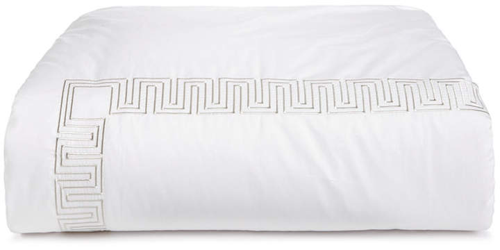 Greek Key Cotton Platinum Twin Duvet Cover, Created for Macy's Bedding