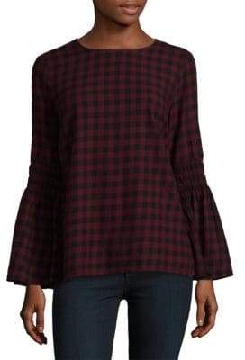Plaid Bell Sleeve Cotton Top