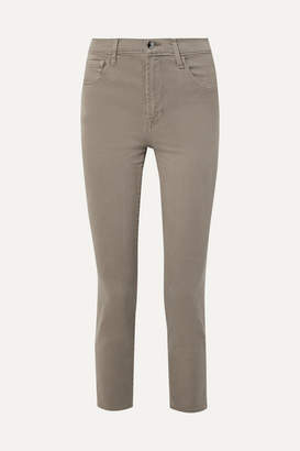 J Brand Kyrah Cropped Stretch Cotton-blend Twill Skinny Pants - Army green