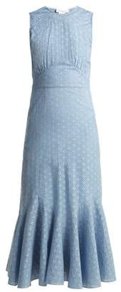 Raey Broderie Anglaise Fishtail Dress - Womens - Light Blue