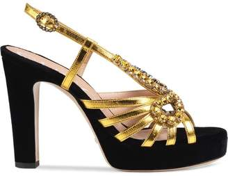 Gucci Velvet and leather sandal with crystals