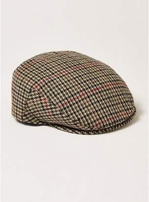 Topman Mens Brown Check Flat Cap
