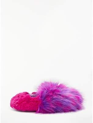 John Lewis & Partners Children's Fluffy Monster Closed Back Slippers, Pink/Purple