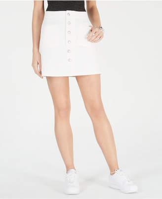 Oat Cotton Button-Front Denim Mini Skirt