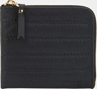 Comme des Garcons Men's Channel-Stitched Leather Zip-Around Wallet - Black