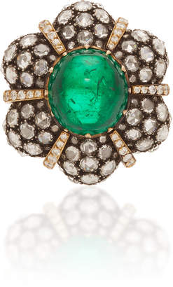 Munnu The Gem Palace 18K Gold Emerald and Diamond Ring