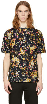McQ Black Floral Drop Shoulder T-Shirt