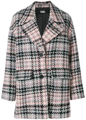 Karl Lagerfeld oversized fancy check coat