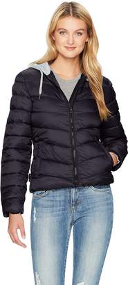 Madden-Girl Women's Bomber Jacket with Fleece Hood, J155, XL