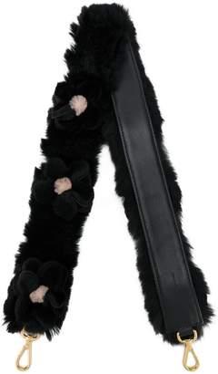 Prada Black 3D floral Shearling bag strap